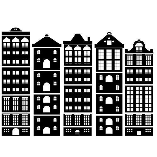 Buildings City - Plantilla reutilizable para habitación infantil, diseño moderno, Plantilla esténcil lámina autoadhesiva, L size - 140 x 200 cm, 55.1 x 78.7 in
