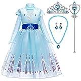Tacobear Disfraz Elsa Frozen Niña con Tiara Varita Mágica Princesa Elsa Frozen Vestido Traje Princesa Elsa para Halloween Cosplay Fiesta (6-7 años (130 cm))
