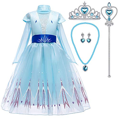 Tacobear Vestito Elsa Frozen Bambina con Tiara Bacchetta Magica Principessa Elsa Costume Ragazze Principessa Elsa Abiti Partito per Halloween Cosplay Festa (3-4 Anni (110 cm))