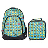 Emojis Sky Blue Kid's Insulated Polyester Blend Backpack and Lunchbox Set