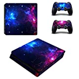 Morbuy PS4 Slim Skin Vinyl Autocollant Decal Sticker pour Playstation 4 Slim console + 2 Dualshock Manette Set (Double Starry)