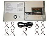 Evertech 8 Channel Port 12V DC 5 Amp Amper with PTC Fuse Distributed Power Supply Box for CCTV DVR Security System and Camera or Cameras with 9 Pcs. Male Power Jack