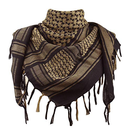 Explore Land Cotton Shemagh Tactical Desert Scarf Wrap (Black and Brown)