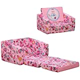 Qaba Kids Fold-Out Couch/Chair Lounger with Space-Themed Washable Fabric & Removable Cushion for 3-6 Years Old, Pink