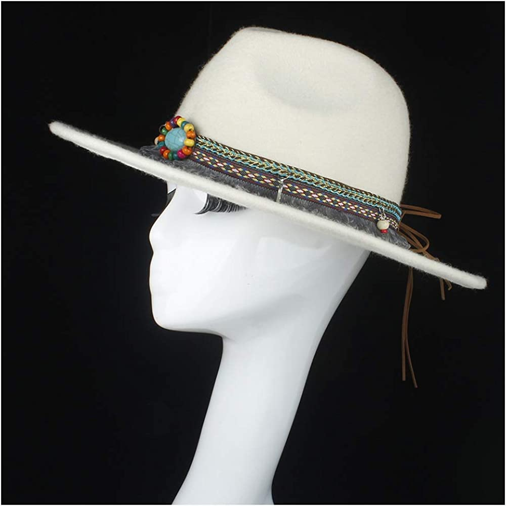 L.W.SUSL 100% Wool Authentic Women White Fedora Hat with Tassel Ribbon for Elegant Lady Vintage Trilby Hat