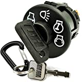 HD Switch Ignition Starter Switch Replaces Craftsman for Riding Lawn Mower Tractor - 4 Position with Headlight Control, 7 Terminal Includes 1 Umbrella & 1 Steel Key & Free Carabiner