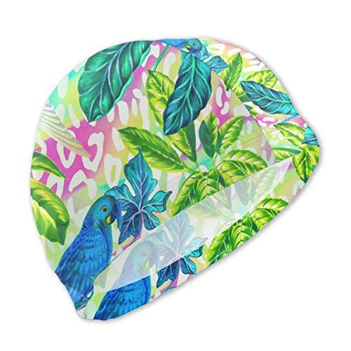 HFHY Colibris et perroquets de Bonnet de Bain de Style rétro Tropical pour Enfants, Bonnet de Bain en Polyester personnalisé