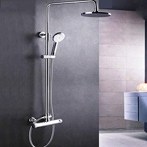 ZouYongKang Conjunto de grifos de ducha de baño completo con válvula mezcladora expuesta, cabezal de ducha de lluvia con spray de mano, conjuntos de ducha de lluvia de temperatura constante inteligent