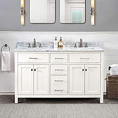 SJ Collection Olson 60 in. Shaker Style Double Sink Bathroom Vanity, White
