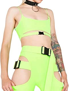 FSSE Women Summer Sexy Spaghetti Strap Hollow Out Tank Top & Shorts 2-Piece Outfit