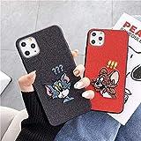 YABAISHI 該当IPhoneX/XS/ラット刺繍ダウンザ・電話シェル猫マウスドロップ抵抗保護スリーブ正月の11年 (Color : CSW-15-iPhone11)