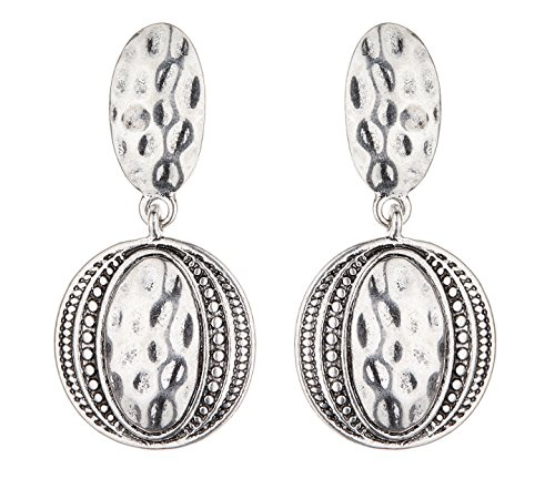 Clip On Earrings - Antique Silver Plated Aztec Design Dangle Earring - Brasen S