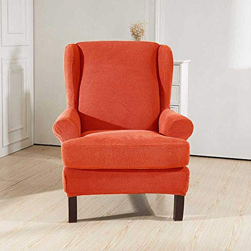 Anoauit Cubierta del sillón con Respaldo Inclinado Sillón elástico Sillón con Respaldo Wing Back Chair Funda con Respaldo con Alargado Stretch Protector Protector Antideslizante-Naranja