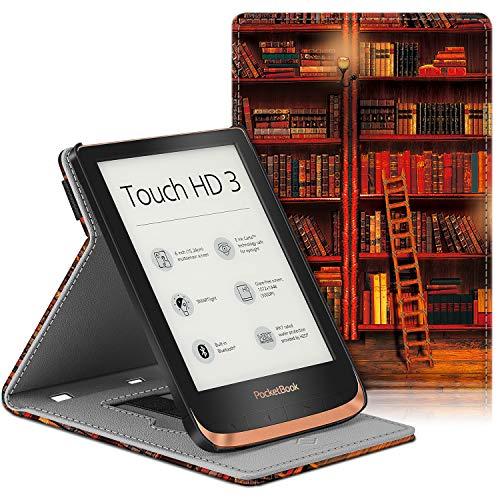 Fintie Hülle für Pocketbook Touch HD 3 / Touch Lux 5 / Touch Lux 4 / Basic Lux 2 / Color (2020) e-Book Reader - Multi-Sichtwinkel Schutzhülle mit Handschlaufe, Auto Sleep/Wake, die Bibliothek
