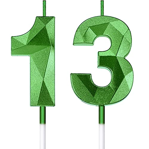 13th Birthday Candles Cake Numeral Candles Happy Birthday Cake Candles Topper Decoration 3D Design Number Candles Cupcake Topper for Birthday Wedding Anniversary Celebration Favor, Green