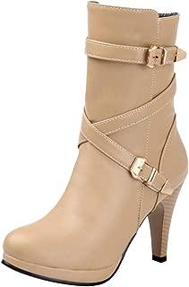 ELEEMEE Women Platform Boots Block Heel Ankle Bootie Zip