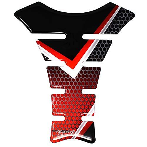 Gel Neon Tankpad Motorrad 3D Glanz Universal Tankaufkleber Tankschutz Lackschutz Aufkleber Pad MR010 (Red Tribal)