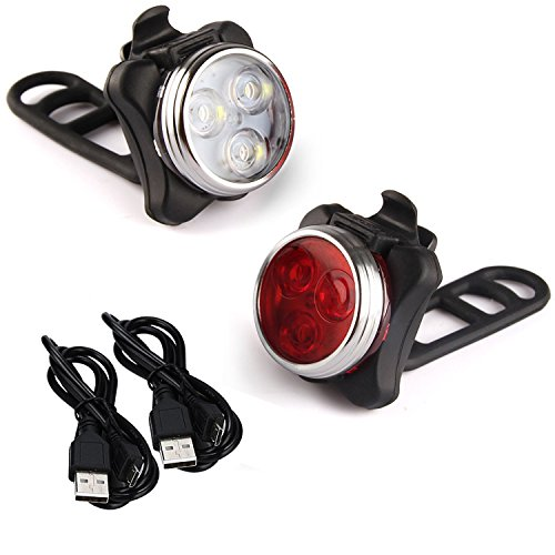 Arespark LE Rechargeable LED Bike Light Set,Headlight Taillight Combinations,Includes Front and Rear Bicycle Light Set, Bike Lights,2 USB Cables,4 Light Modes, 350lm,Water Resistant, IPX4 -