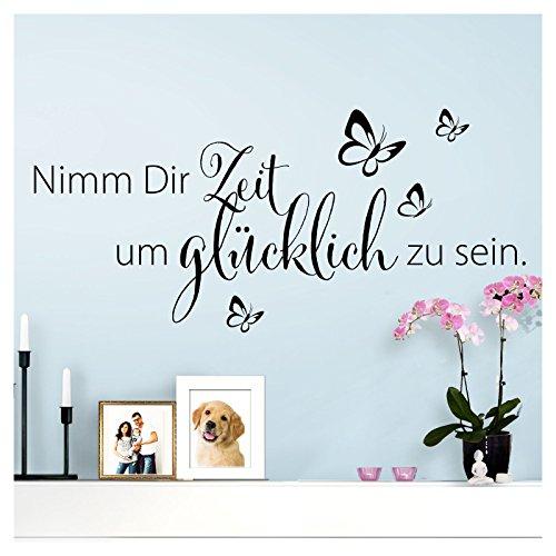 Wandaro Wandtattoo Spruch Nimm Dir Zeit um I schwarz (BxH) 80 x 36 cm I Aufkleber selbstklebend für Wohnzimmer Schlafzimmer Wandaufkleber Zitate Wandsticker W3307