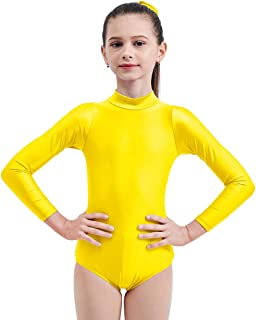 Kids Girls Turtleneck Long Sleeve Leotard Gymnastics Ballet Dancewear for Child