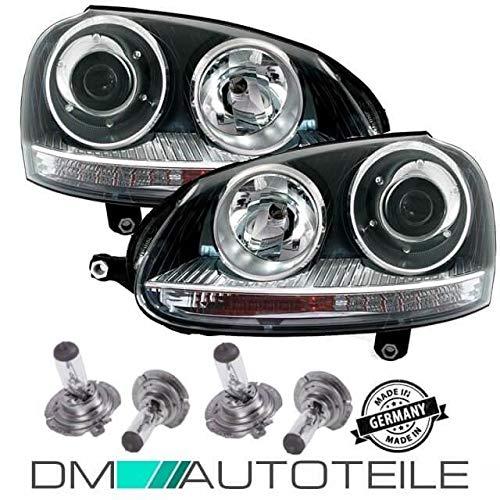DM Autoteile Golf 5 GTI Scheinwerfer Klarglas Schwarz Xenon Optik R32 Design+ 4x H7 Birnen
