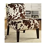 Cowhide Chair Armless Accent Chair Imitation Cow Hide Look Faux Fabric Upholstery Animal Print Wooden Legs, Goes Great with Cow Hide Rugs or Brown Leather Sofas