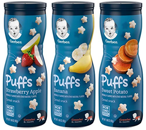 Gerber Puffs Cereal Snack Variety Pack - 1 Strawberry Apple, 1 Banana, 1 Sweet Potato - 1.48 OZ Each (Pack of 3)