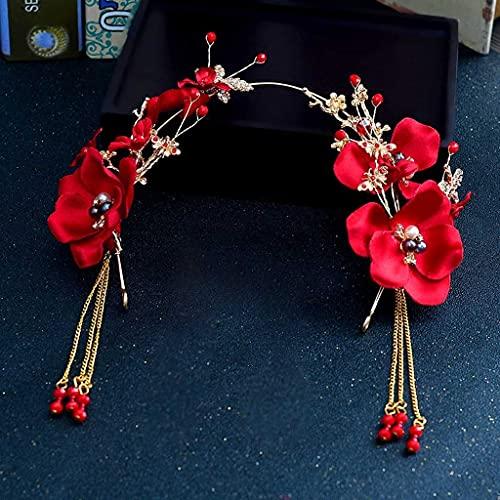 JYDQM Trendy 3pcs / Set Red Pearl Flowand Headbands para Las Mujeres borlas Nupciales Tiara Hairbanda China Boda Novia Accesorios para el Cabello