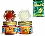 Balsamo tigre tailandés masaje oint rojo y blanco, Ungüento masaje tigre oint rojo y blanco, para aliviar el dolor muscular (Rojo, Blanco y Parches)