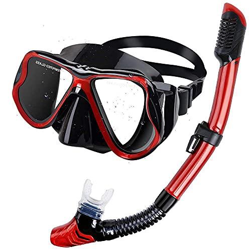 TSRJ Juego de Snorkel seco, máscara de Buceo antivaho, Gafas de Buceo con Vista panorámica panorámica, respiración fácil y Equipo de Snorkel Profesional para Adultos,Red
