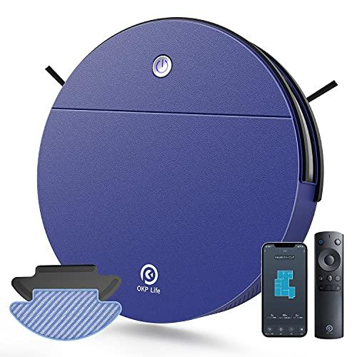 OKP Robot Aspirador, Robot Aspirador y Fregasuelos 2000Pa con Batería de 1800mAh, Aspiradora Robot Óptimo para Mascotas, 100 min Autonomía, Compatible con Alexa & Google Home K3 (Azul)