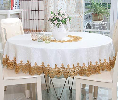 shunzianson Bestnote satijnen tafelkleed set bloemen watermerk goud applique tafelkleden rechthoekig rond 85X150CM Rond tafelkleed