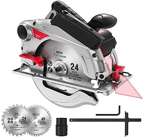 Sega circolare per legno, 1500 W, 4700 giri/min, taglio 65 mm (90º), 45 mm (45º), 2 lame per sega circolare 190 mm (24T/40T), guida laser e righello in scala