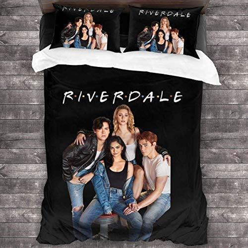 QWAS Riverdale Riverdale - Juego de cama (funda nórdica de 100% microfibra, impresión digital 3D, suave y cómoda (L4,140 x 210 cm + 80 x 80 cm)