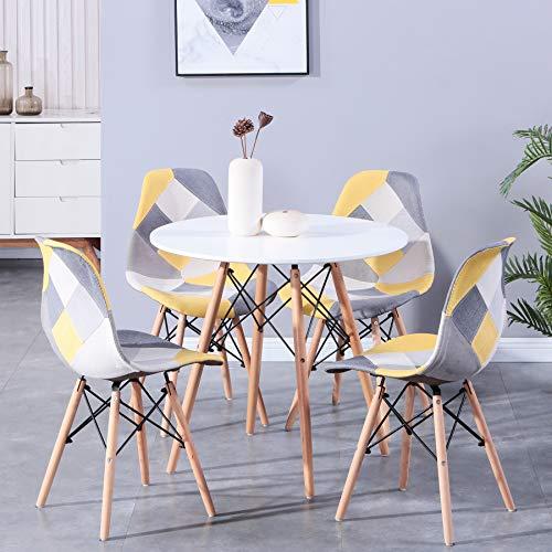 BenyLed - Juego de mesa de comedor redonda y sillas de retazos (80 cm, 5 piezas, mesa de comedor y silla de mesa de comedor de madera de diseño moderno (ML-003)