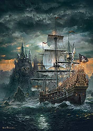 Decorsy Rompecabezas Puzzle 1000 Piezas Adultos Barco Pirata De La Isla del Diablo Colección Moderna De Decoración del Hogar
