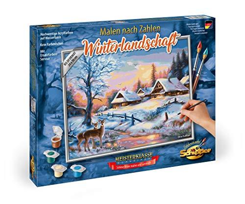 Schipper 609240833, Malen nach Zahlen, Winterlandschaft, Bilder malen für Erwachsene, inklusive Pinsel und Acrylfarben, 24 x 30 cm