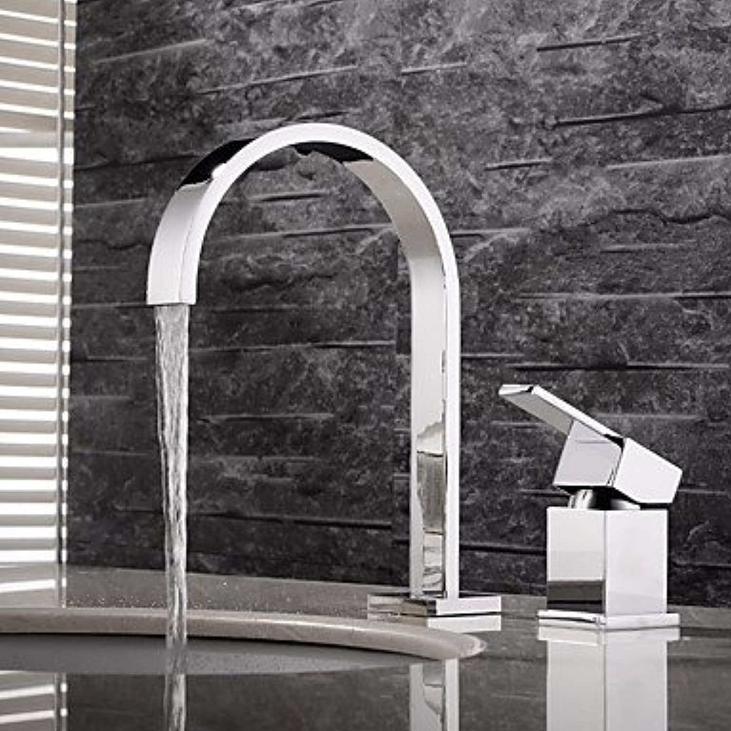 ZLL Contemporary Widespread Widespread with Ceramic Valve Two Handles Two Holes for Chrome , Bathroom Sink Faucet