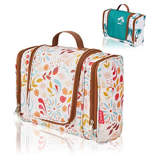 ZAMA XXL Design Kulturtasche | Kulturbeutel zum aufhängen mit Haken und Henkel für Damen, Frauen und Mädchen | Kosmetiktasche aufklappbar, groß, leicht für Koffer