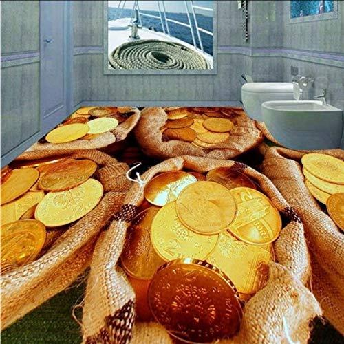 Pbbzl Custom 3D stereo zakken gouden hoeken, decoratieve badkuipen, verkopervloer, plakfolie 120 x 100 cm.