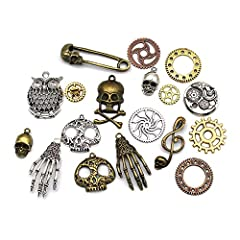 Mila-Amaz 80 Pcs Assorted Antique Steampunk Gears Metal Skeleton Pendant Charms Cogs for Jewelry Making Accessory - Bronze, Silver #3