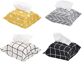 ALOVEA 4 Pack Polyester Cloth Tissue Box Cover Rectangle Tissue Box Holder for Home Office Car Automotive (White/Black/Yellow/Gray)