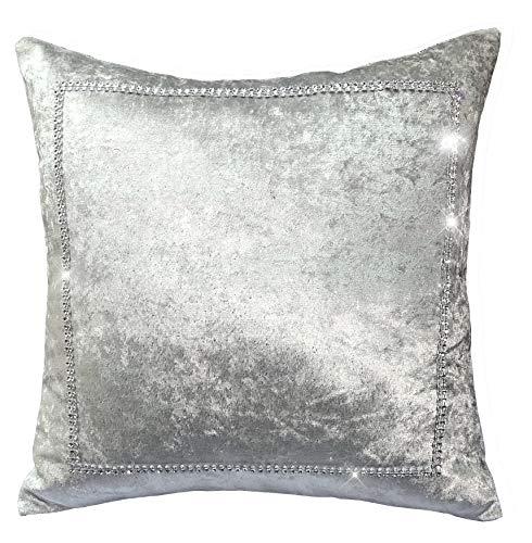 LES4U Funda de cojín de terciopelo aplastado con purpurina y brillantes, para salón, sofá, dormitorio, accesorio de lujo Glam (plata/gris, 17 x 17 pulgadas)