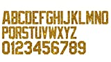 2-Inch Tall ATB Hologram, Glow in Dark, Reflective, PU Vinyl Iron-on Transfer Letters Numbers 26 Letters and 10 Numbers for Custom Sports Jerseys, Team Shirts, Casual T Shirts (Gold Glitter Vinyl)