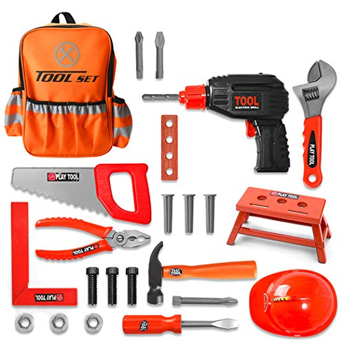 yeesport 28PCS Construction Tool Toy Set Realistic Repair Tool Set Funny Fixing Tool Kit Electric Drill Tool Pretend Toy with Fashion Backpack Best Gift for Kids
