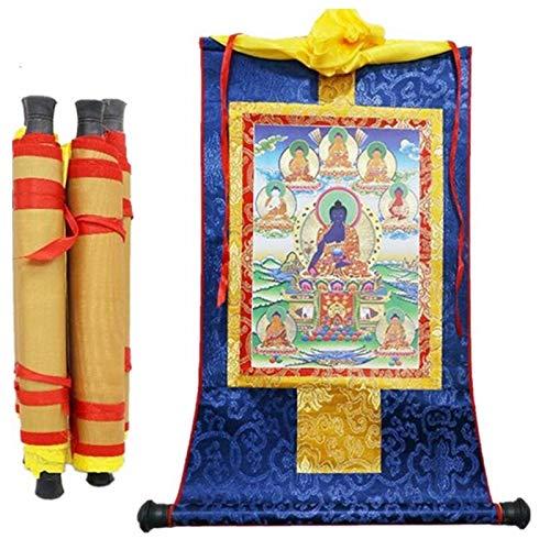 LYFASD Tibetan Thangka Eight Medicine Buddha Statues Wood Scroll Printing 13'X8.3' Decoration Supplies Painting 1pcs