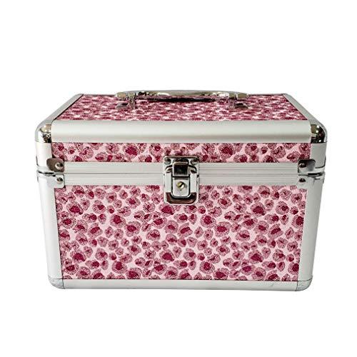 Boîte De Rangement Cosmétique Portable, Boîte À Outils À Bijoux, Étui À Cosmétiques en Aluminium, avec Miroir Et Serrure De Boîte