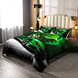 Green Race Car Comforter Set Twin Size Sports Car Bedding Set Extreme Games Sport Theme Duvet Sets For Kids Boys Youth Man Vehicle Racer Speedometer Automobile Quilted Duvet 2Pcs Child Room Decor