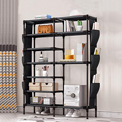 6 Tiers Shoe Rack Shoe, Storage Organizer Non-Woven Boots Organizer with Hanging Side Pockets, Shoe Shelf Shoe Rack for Closets for Closets Entryway, 110 * 90 * 30 cm