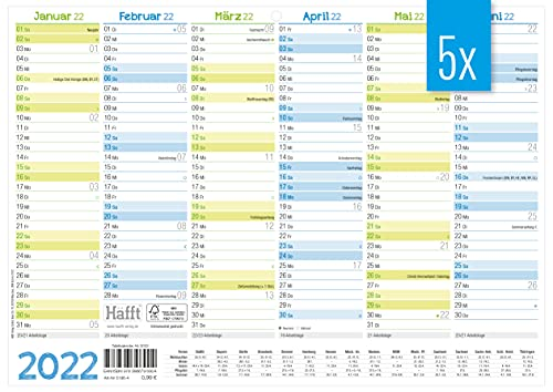 5 x Premium Tafelkalender 2022 A4 quer - Jahresplaner, Wandkalender, Jahreskalender inkl. kleine Übersicht Folgejahr, Feiertage & Ferienübersicht | nachhaltig & klimaneutral